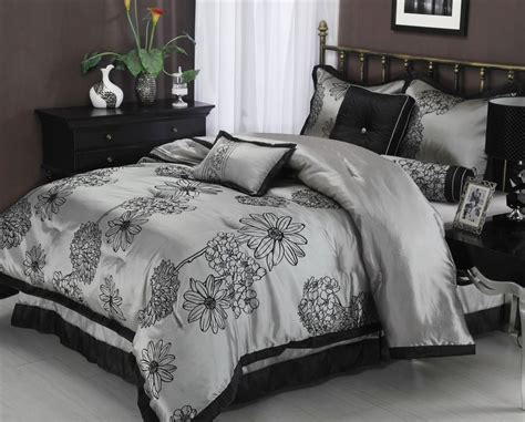 dark floral bedding amaysia 7 piece grey black floral comforter bedding