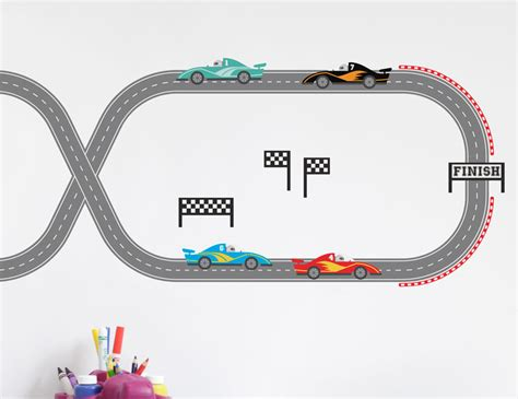 race track wall stickers 35pc bright wall stickers race track cars