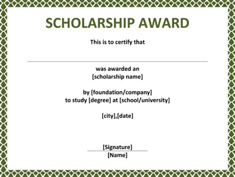 5 plus scholarship award certificate exles for word and pdf