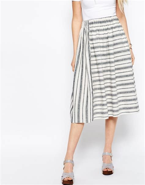 asos midi skirt in linen stripe in silver multi lyst