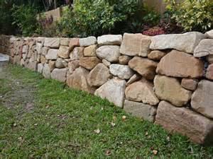 australian retaining walls hand placed sandstone rock