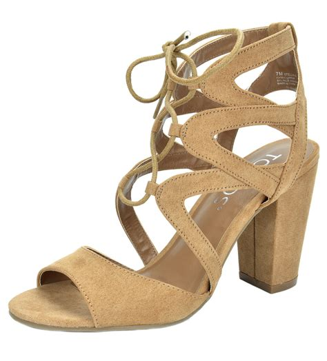 Laced Up Open Toe Chunky High Heels Import 1 stella 03 s lace up cut out open toe chunky high