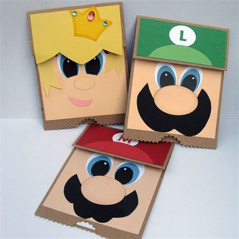 mario crafts for mario paper bag puppets crafts for