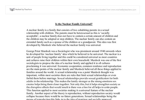 Nuclear Family Essay by Is The Nuclear Family Universal Ess
