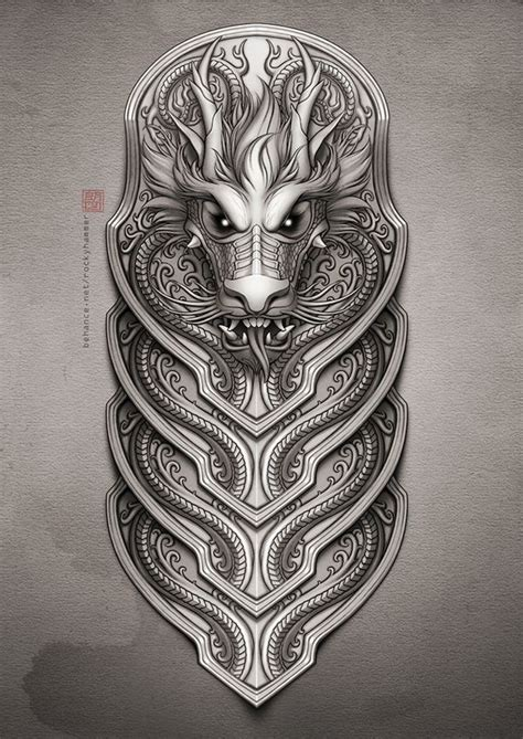 viking armor tattoo half sleeve by rocky hammer via behance