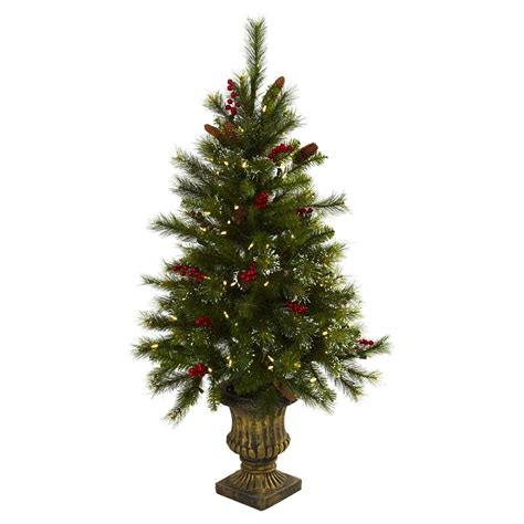 4 ft pre lit christmas tree with berries pine cones