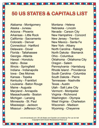 list of 50 states states and capitals 50 states and us states on pinterest