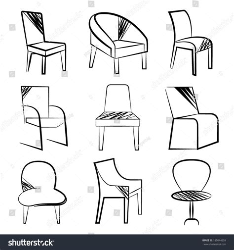 Sketch Chair Icons Set Sofa by Sketch Chair Icons Stock Vector 185044559