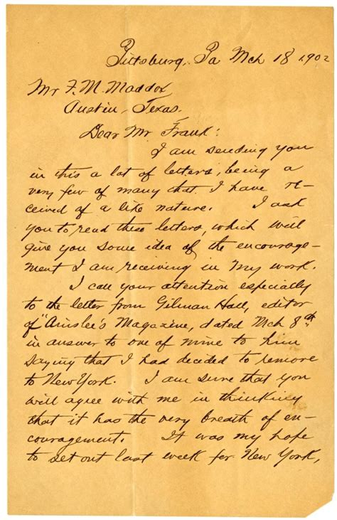 layout of a handwritten formal letter handwritten letter from o henry to f m maddox the