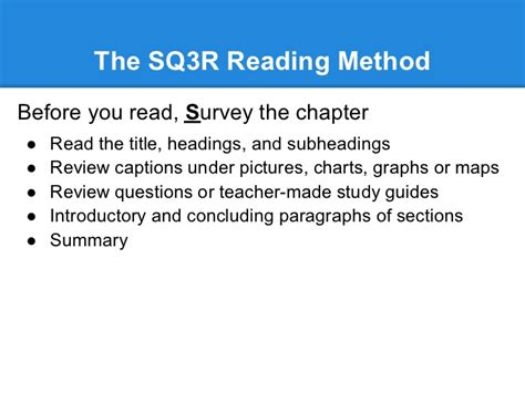 method of sections explained the sq3r method of reading and the 6 stages of accelerated