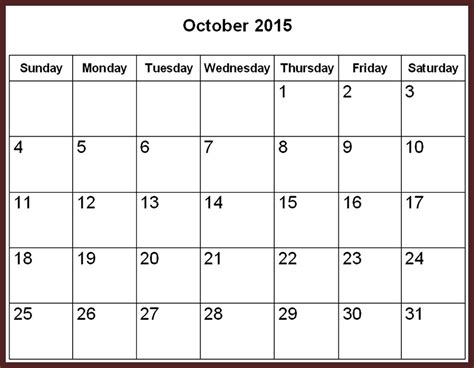 Calendar 2017 October Word October 2015 Calendar Word Template 2017 Printable Calendar