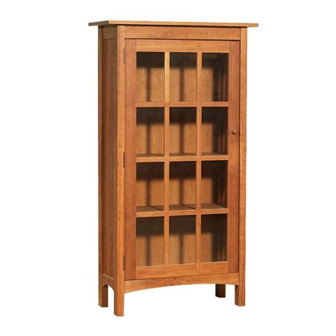 Wood Bookcases With Glass Doors Vermont Made Wooden Shaker Bookcase With Glass Doors Real Wood