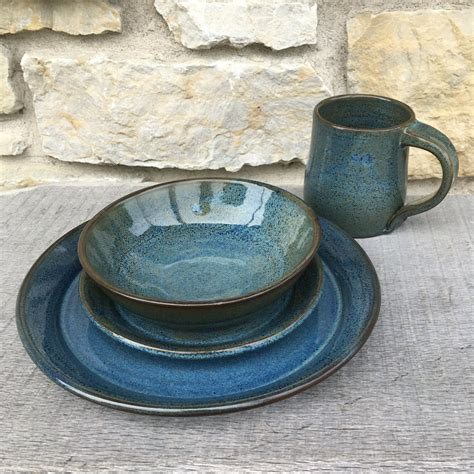 pottery dinnerware set in rutile blue on clay