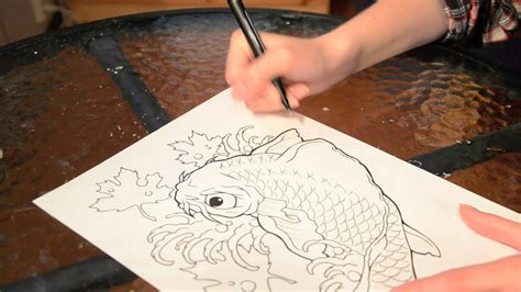 speed painting koi fish tattoo design black and grey