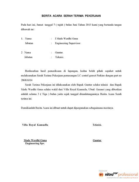 format berita acara instalasi berita acara pekerjaan pemasangan lc genset pdf documents
