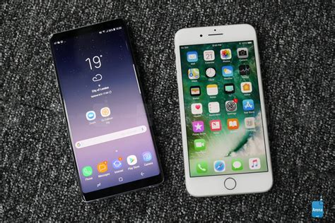 iphone layout for samsung galaxy note 8 vs iphone 7 plus first look phonearena