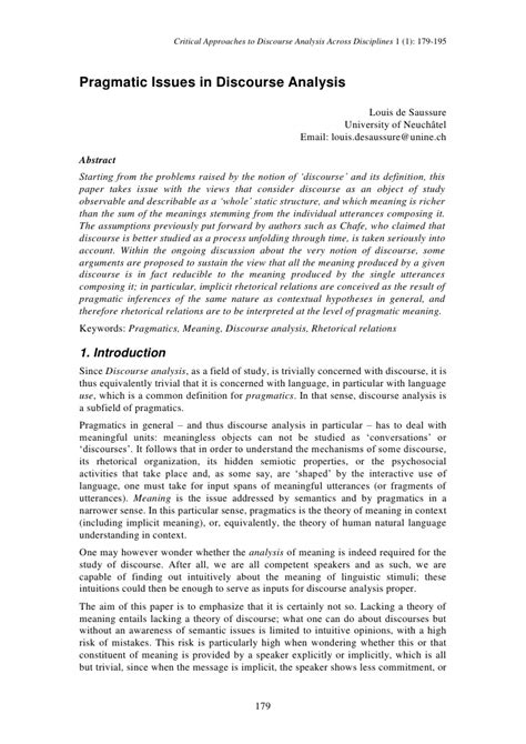 Discourse Analysis Research Papers by Pragmatic Issues In Discourse Analysis