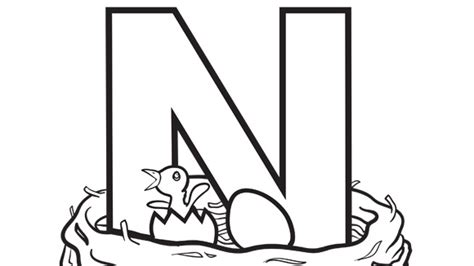 coloring pages for the letter n alphabet series n nest grandparents com