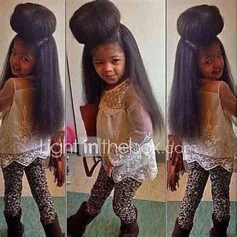 pics of black pretty big hair buns with added hair kinky straight weave 18inch italian yaki straight hair