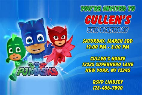 pj invitation pj masks invitations catboy owlette gekko general
