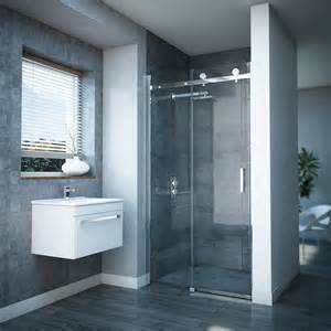 sliding frameless shower doors frameless sliding shower door at plumbing uk