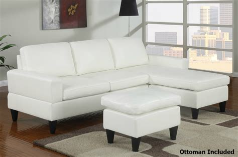 Sectional Sofa Ottoman Poundex Piccio F7298 White Leather Sectional Sofa And Ottoman A Sofa Furniture Outlet