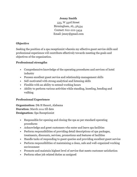 Receptionist Resume Templates by Free Spa Receptionist Resume Template Sle Ms Word