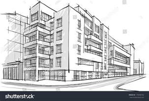 building sketch online architecture sketch drawing of building city stock