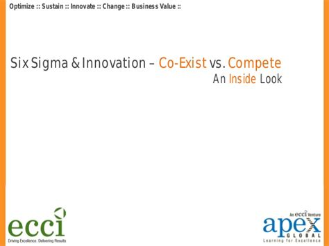 Six Sigma Vs Mba by Six Sigma And Innovation Coexist Vs Compete Inugget