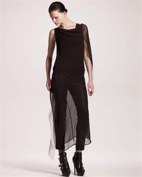lyst ann demeulemeester long degrade dress  black
