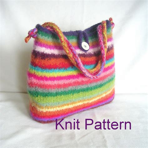 felted purse knitting patterns items similar to knitting pattern easy felted bag