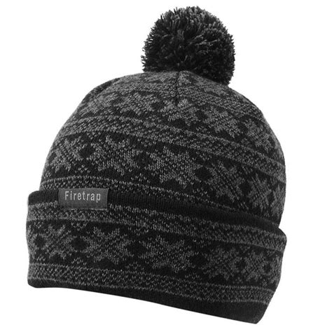 mens knit hat with brim firetrap mens nordic hat knitted beanie bobble fold