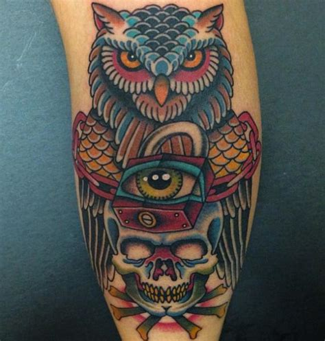 new school owl tattoo arm new school skull owl lock by da vinci