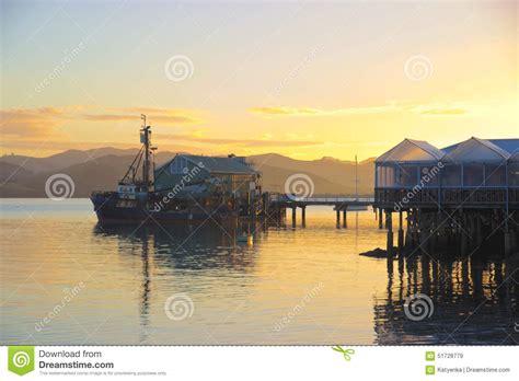 cameras on fishing boats nz fishing boat at wharf fish shop sunrise mangonui new