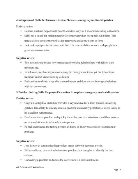 Emergency medical dispatcher performance appraisal