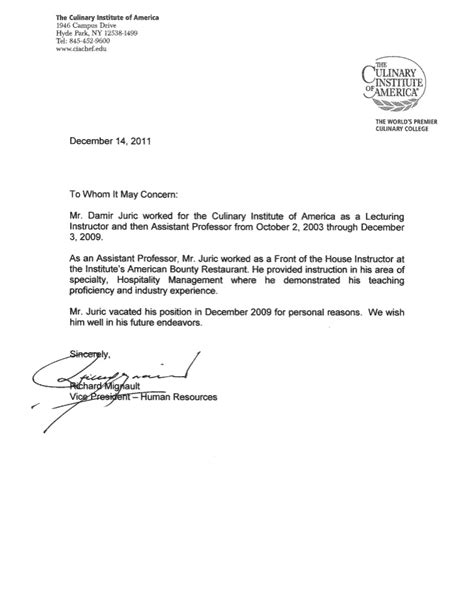 Letter Of Recommendation Hospitality reference letter damir juric che assistant professor in