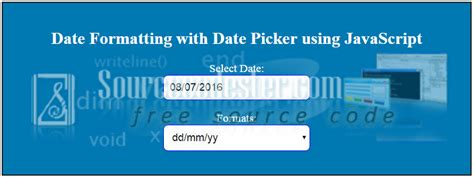 format date javascript mm dd yy date formatting with date picker using javascript free