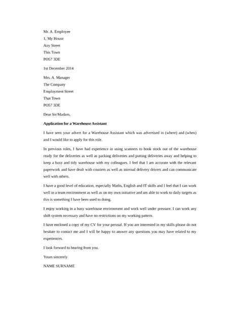 basic warehouse assistant cover letter sles and templates