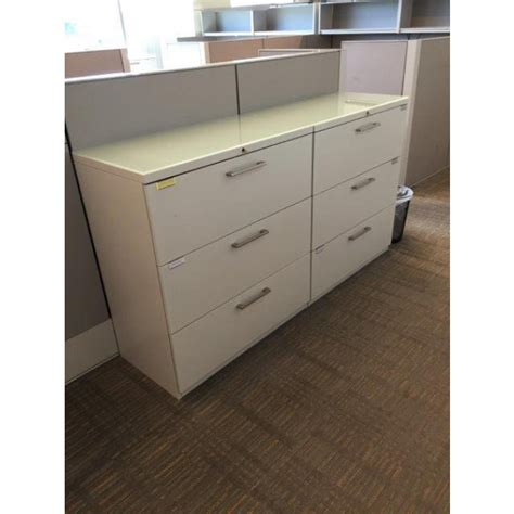 haworth white lateral file cabinet 36 quot w 3 dr filing