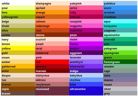 paint color names sh yn design list of colors