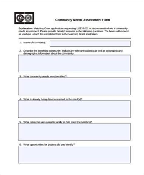 community needs assessment template sle community assessment forms 8 free documents in