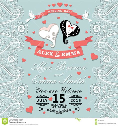 Vintage Wedding Invitation With Paisley Border Cartoon Wedding H Stock Vector Image 40146752 Paisley Wedding Invitation Template