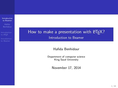 Latex Tutorial For Presentation | how to make a presentation with latex introduction to