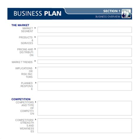 blank business plan template in word format