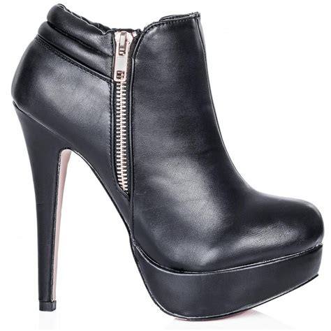 buy sliver stiletto heel zip platform ankle boots black