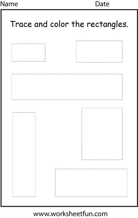 Rectangle Worksheet by Shape Rectangle 1 Worksheet Free Printable