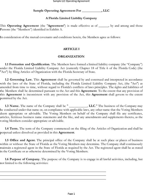 llc purchase agreement template free sle operating agreement formxls