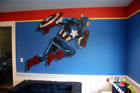 Avengers Murals hand painted throughout a kids bedroom