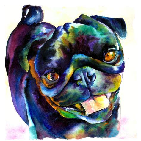 black pug painting black pug by freeman