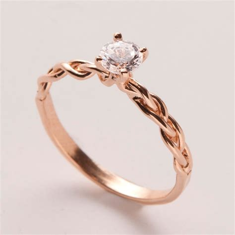 braided engagement ring   rose gold  diamond